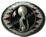 Howling Wolf and Moon Belt Buckle with display stand. Product Code: FA4